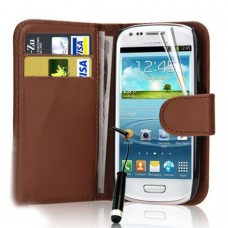 Wallet Style Leather Flip Pouch for Samsung Galaxy S3