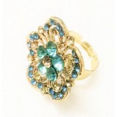 Gold-Plated Ring with Blue Stone