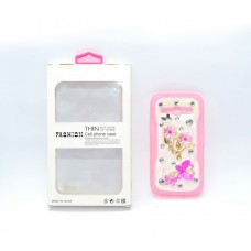 Fashion Rhinestone Back Cover for Samsung Galaxy Core2 G355H - Pink and White