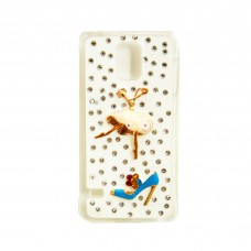 Fashion Rhinestone Back Cover for S5 - White