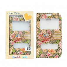 Samsung Galaxy Flip Cover - S5 with Flower Design