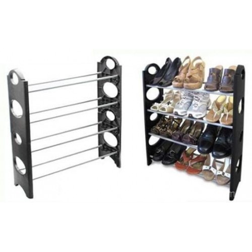 4 Layer Stackable Shoe Rack - Holds 12 Pairs Shoes